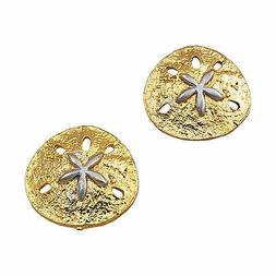 Large Button Gold Silver Tone Sand Dollar Earrings Made In U