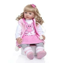 "Lifelike 24"" Adorable Reborn Toddler Baby Dolls Soft Silicon"