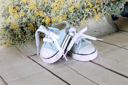 Light blue No Heel Sneakers canvas Tennis for 18'' dolls Clo