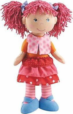 "HABA Lilli-Lou 12"" Soft Doll with Pink Hair in Pigtails, Blu"