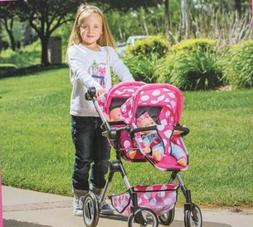 """LISSI DOLL DOUBLE STROLLER FITS 2 DOLLS UP TO 18"""" COLOR: PIN"""