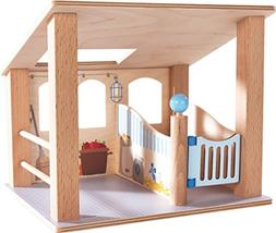 HABA Little Friends Wooden Horse Stall with Swinging Door &