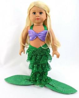 """Little Mermaid Costume for American Girl 18"""" Doll Clothes MO"""
