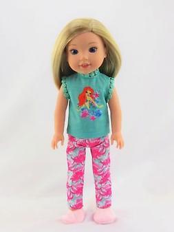 "Little Mermaid Pajamas PJs For 14.5"" Wellie Wishers Doll Clo"