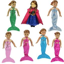 """Little Mermaid Tail Costume Outfit Doll Clothes for 18"""" Amer"""