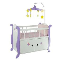 Teamson Kids Little Princess Baby Nursery Bed with Cabinet f