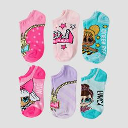LOL Surprise Doll 6 Pack Girls No Show Socks Size S/M or M/L