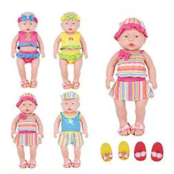 Huang Cheng Toys Set of 4 Lovely Alive Baby Doll Swimsuits C