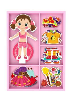 Toysters Magnetic Wooden Dress-Up Dolls Toy | Pretend Costum