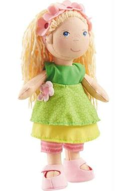 "HABA Mali 12"" Soft Doll with Blonde Hair, Blue Eyes and Embr"