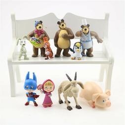 Masha And The Bear Masha Bear 10 PCS Action Figures Toy Doll