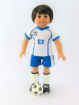 Mason 18'' Boy Doll with Soccer Outfit & Shoes by American F