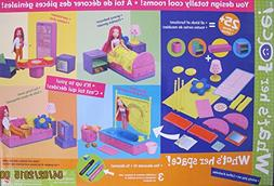 Mattel WHAT'S HER FACE What's Her Space w 25+ FURNITURE Piec