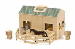 Melissa & Doug Fold & Go Wooden Horse Stable Dolls House Toy