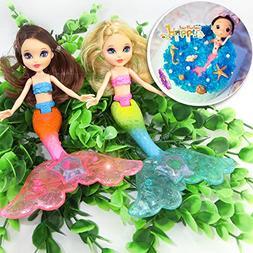 2-Piece Mermaid Doll Toy for Girls or Cake Decoration,Swim i