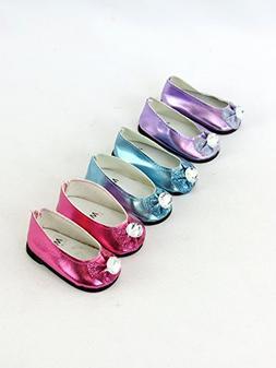 3 pack of Metallic Diamond Bow Flats: Hot Pink, Purple, and