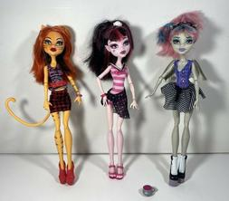 Monster High Dolls, Lot of 3, Toralei Stripe, Draculaura and
