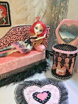 Monster High Furniture Set chair chaiselongue Day Bed for Cu