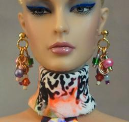 Multicolor Earrings Only for16 Fashion Dolls Embellished wit