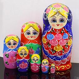 7pcs Nesting Dolls Cute and Beautiful Red Belly Girl Stackin
