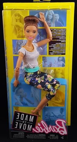 New! 2018 Barbie Made to Move Doll Brunette Blue Eyes, Flora