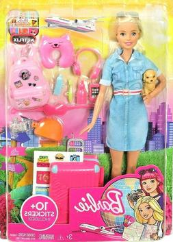 New Mattel Barbie Doll and Travel Set with Puppy, Luggage an