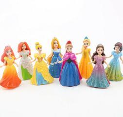 NEW Princess 8pcs/set Action Figures Changed Dress Dolls Kid