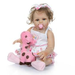 "Newborn Dolls Girl Blue Eyes 18"" Reborn Baby Dolls Silicone"