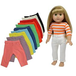 Doll Pants for 18 Inch Dolls- Set of 10 - Fits American Girl