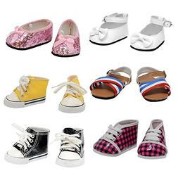 """The New York Doll Collection Shoe 6 Pairs of Doll s Fits 18"""""""