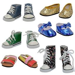 The New York Doll Collection D358 6 Pairs of Doll Shoes Fits