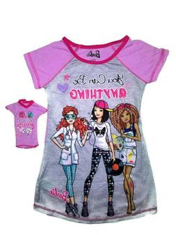 BARBIE Nightgown for Girls and Matching Doll Nightshirt Slee