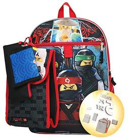 """LEGO Ninjago 16"""" Backpack 5pc Set with Snack Tote, Wallet, P"""