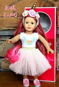 NWB Custom American Girl Doll Unicorn Pink Hair Glitter Lips