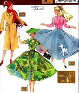 "OOP 11½"" DOLLS ""FABULOUS 1950s"" RETRO CLOTHES SEWING PATT"