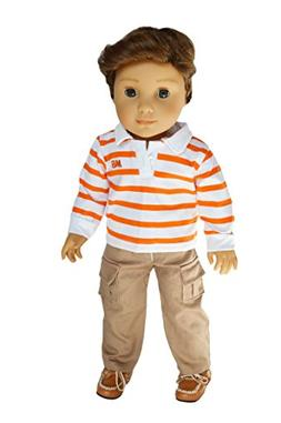 Brittany's My Orange Striped Top and Khaki Pants Compatible