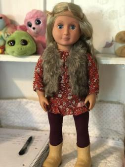 """Our Generation Battat 18"""" Doll Blond Hair Blue Eyes, with cl"""