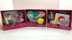 OUR GENERATION DOLL ACCESSORIES, 3 KITS INCLUDED