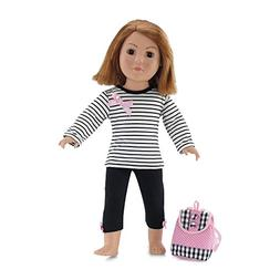 18 Inch Doll Clothes | Pink, Black and White Back to School