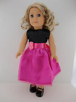 Beautiful Hot Pink and Black Dress Designed for 18 Inch Doll