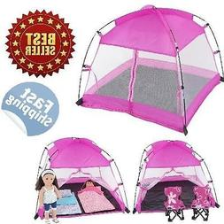18 Inch Doll Accessories | Amazing Pink Dining Canopy Campin