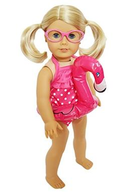 Brittany's My Pink Dot Swimsuit Set with Flamingo Floatie an