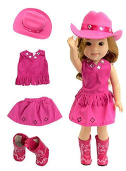 American Fashion World Hot Pink Little Cowgirl Hat Boots-Fit