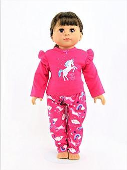 "Hot Pink Unicorn Pajamas| Fits 18"" American Girl Dolls, Mada"