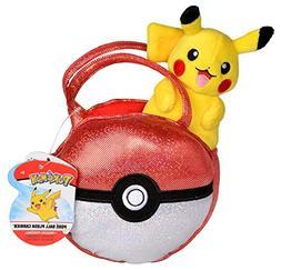 Pokemon Poke Ball Plush Purse, Comes with Cute Mini Pikachu