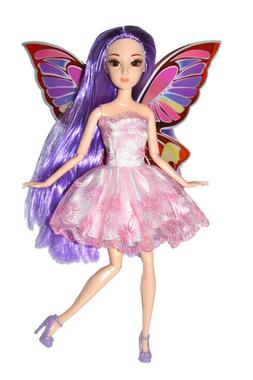 Eledoll Purple Fairy Wings Princess Doll Poseable Fashion Do