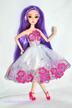 Eledoll Purple Hair Princess Doll Poseable Fashion Doll