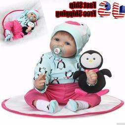 "Reborn Baby 22"" Soft Body Vinyl Silicone Girl Doll Lifelike"