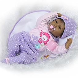 "Reborn Baby Doll Girl Real Life Soft Silicone 22"" Weighted B"