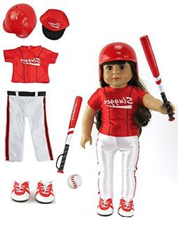 Red Baseball Uniform with Baseball Bat, Helmet, and Shoes fo